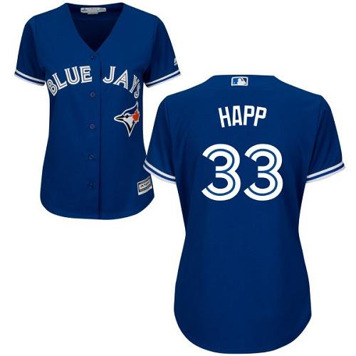Women's Majestic Toronto Blue Jays #33 J.A. Happ Replica Blue Alternate MLB Jersey