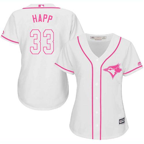 Women's Majestic Toronto Blue Jays #33 J.A. Happ Replica White Fashion Cool Base MLB Jersey