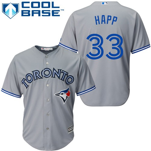 Youth Majestic Toronto Blue Jays #33 J.A. Happ Replica Grey Road MLB Jersey