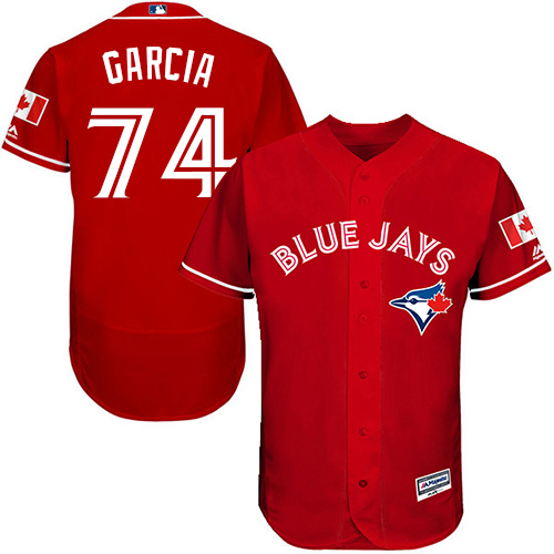 Men's Majestic Toronto Blue Jays #74 Jaime Garcia Scarlet Alternate Flex Base Authentic Collection Alternate MLB Jersey