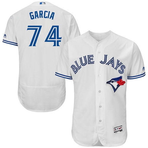 Men's Majestic Toronto Blue Jays #74 Jaime Garcia White Home Flex Base Authentic Collection MLB Jersey