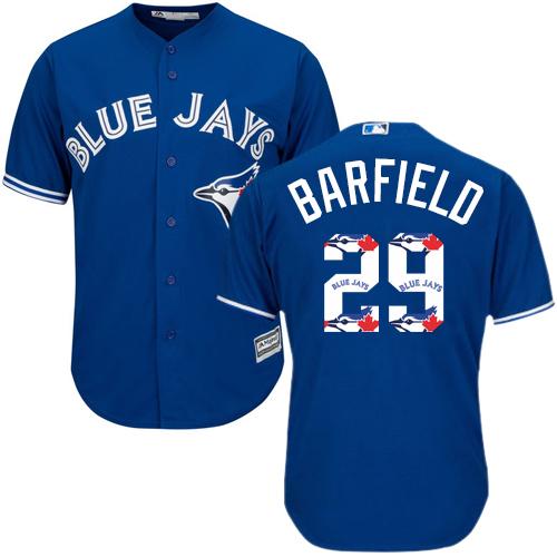 Men's Majestic Toronto Blue Jays #29 Jesse Barfield Authentic Blue Team Logo Fashion MLB Jersey