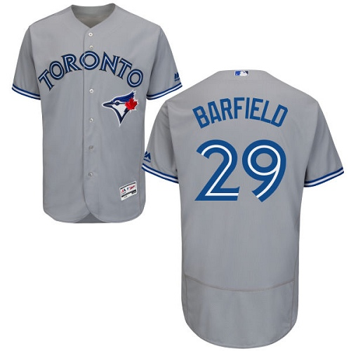 Men's Majestic Toronto Blue Jays #29 Jesse Barfield Grey Flexbase Authentic Collection MLB Jersey