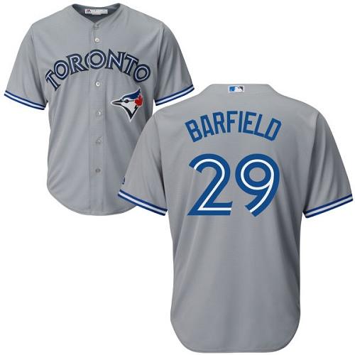 Men's Majestic Toronto Blue Jays #29 Jesse Barfield Replica Grey Road MLB Jersey