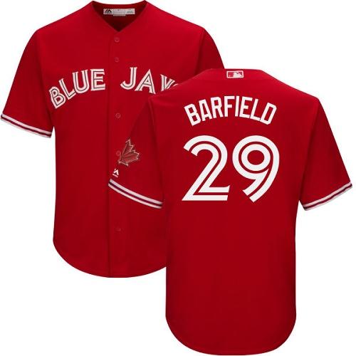 Men's Majestic Toronto Blue Jays #29 Jesse Barfield Replica Scarlet Alternate Cool Base MLB Jersey