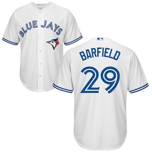 Men's Majestic Toronto Blue Jays #29 Jesse Barfield Replica White Home MLB Jersey