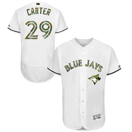 Men's Majestic Toronto Blue Jays #29 Joe Carter Authentic White 2016 Memorial Day Fashion Flex Base MLB Jersey