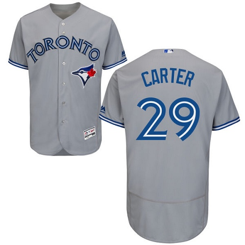 Men's Majestic Toronto Blue Jays #29 Joe Carter Grey Road Flex Base Authentic Collection MLB Jersey
