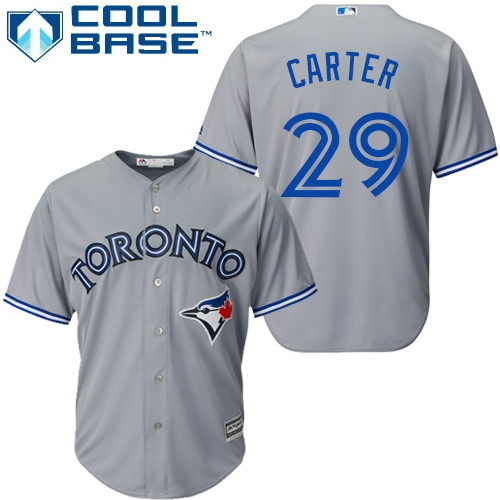 Men's Majestic Toronto Blue Jays #29 Joe Carter Replica Grey Road MLB Jersey