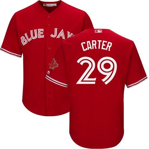 Men's Majestic Toronto Blue Jays #29 Joe Carter Replica Scarlet Alternate Cool Base MLB Jersey