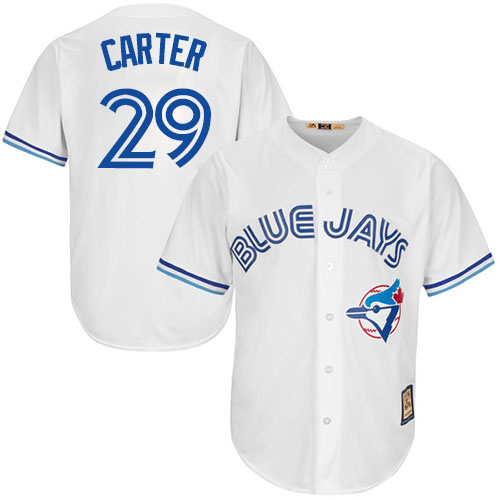 Men's Majestic Toronto Blue Jays #29 Joe Carter Replica White Cooperstown MLB Jersey