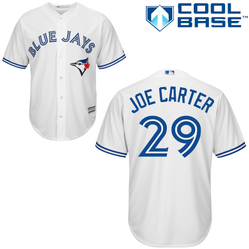 Men's Majestic Toronto Blue Jays #29 Joe Carter Replica White Home MLB Jersey
