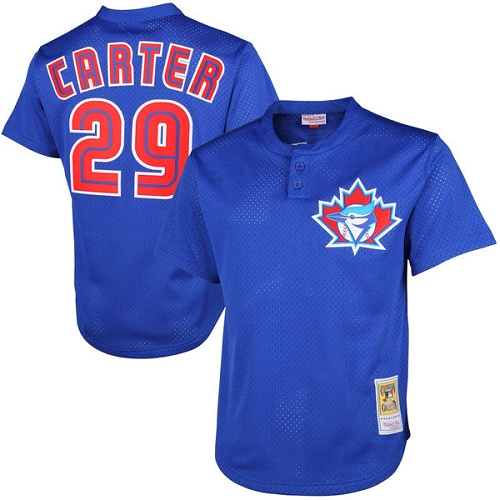 Men's Mitchell and Ness 1997 Toronto Blue Jays #29 Joe Carter Replica Blue Throwback MLB Jersey