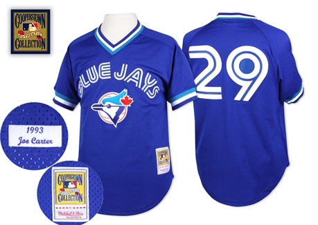 Men's Mitchell and Ness Toronto Blue Jays #29 Joe Carter Replica Blue Throwback MLB Jersey