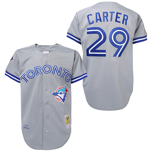 Men's Mitchell and Ness Toronto Blue Jays #29 Joe Carter Replica Grey Throwback MLB Jersey