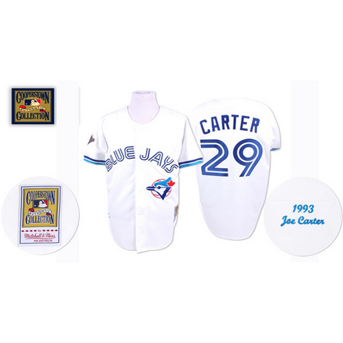 Men's Mitchell and Ness Toronto Blue Jays #29 Joe Carter Replica White Throwback MLB Jersey
