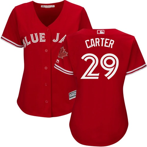 Women's Majestic Toronto Blue Jays #29 Joe Carter Authentic Scarlet Alternate MLB Jersey