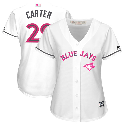 Women's Majestic Toronto Blue Jays #29 Joe Carter Replica White Mother's Day Cool Base MLB Jersey
