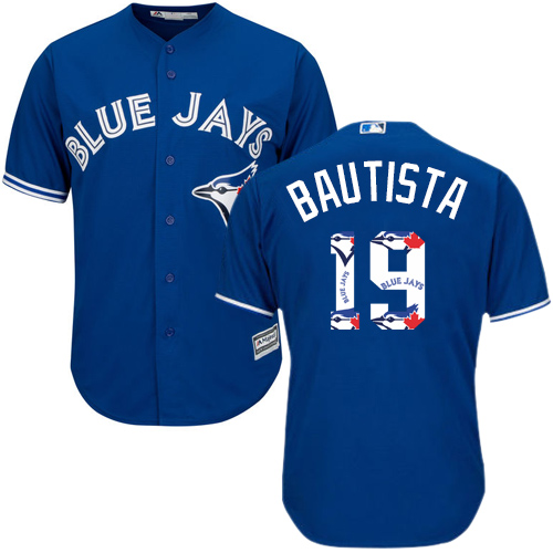 Men's Majestic Toronto Blue Jays #19 Jose Bautista Authentic Blue Team Logo Fashion MLB Jersey