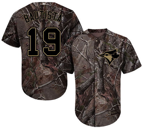 Men's Majestic Toronto Blue Jays #19 Jose Bautista Authentic Camo Realtree Collection Flex Base MLB Jersey
