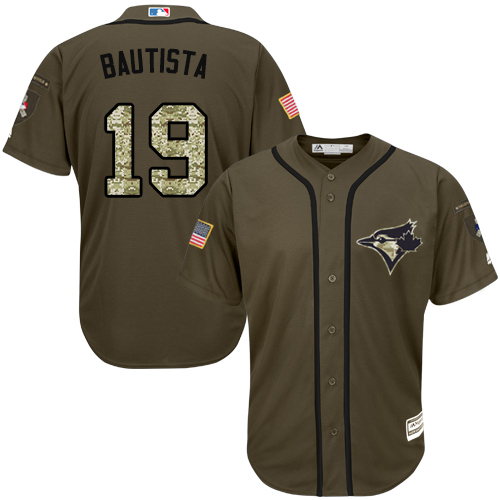 Men's Majestic Toronto Blue Jays #19 Jose Bautista Authentic Green Salute to Service MLB Jersey
