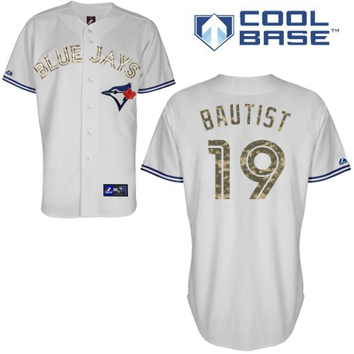 Men's Majestic Toronto Blue Jays #19 Jose Bautista Authentic Grey USMC Cool Base MLB Jersey