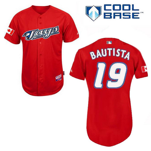 Men's Majestic Toronto Blue Jays #19 Jose Bautista Authentic Red Cool Base MLB Jersey