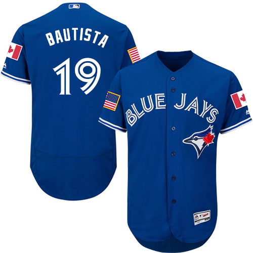 Men's Majestic Toronto Blue Jays #19 Jose Bautista Authentic Royal Blue Fashion Stars & Stripes Flex Base MLB Jersey