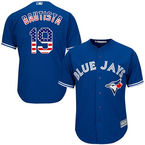Men's Majestic Toronto Blue Jays #19 Jose Bautista Authentic Royal Blue USA Flag Fashion MLB Jersey