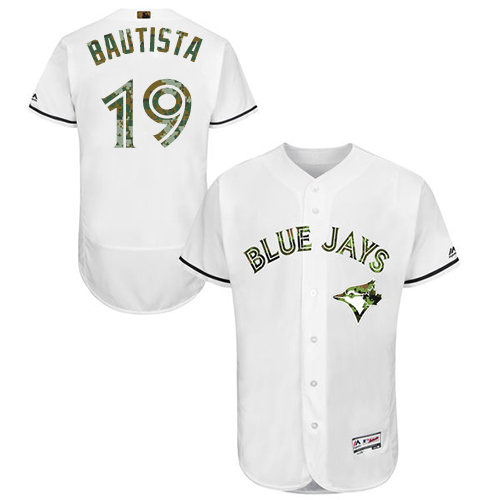 Men's Majestic Toronto Blue Jays #19 Jose Bautista Authentic White 2016 Memorial Day Fashion Flex Base MLB Jersey