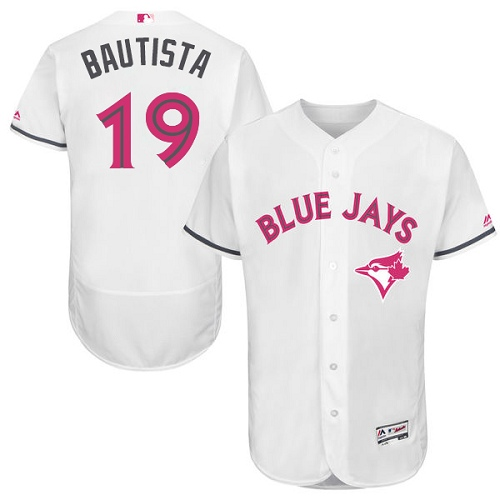 Men's Majestic Toronto Blue Jays #19 Jose Bautista Authentic White 2016 Mother's Day Fashion Flex Base MLB Jersey