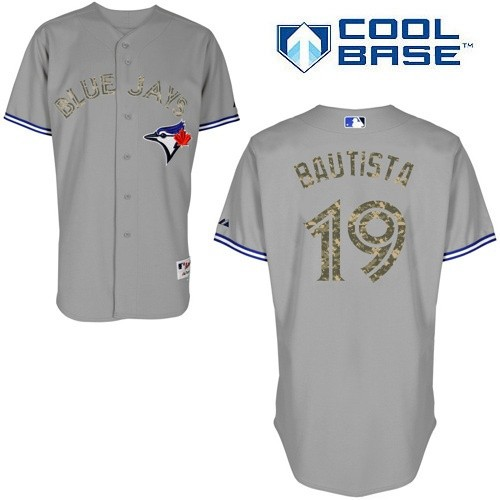 Men's Majestic Toronto Blue Jays #19 Jose Bautista Authentic White USMC Cool Base MLB Jersey
