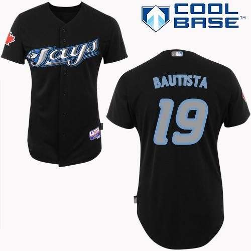 Men's Majestic Toronto Blue Jays #19 Jose Bautista Replica Black Cool Base MLB Jersey