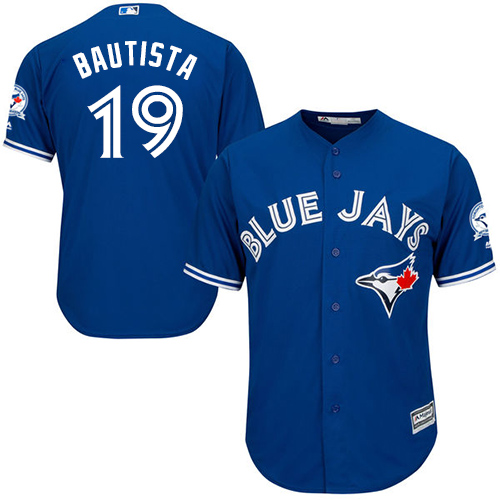 Men's Majestic Toronto Blue Jays #19 Jose Bautista Replica Blue Alternate 40th Anniversary Patch MLB Jersey
