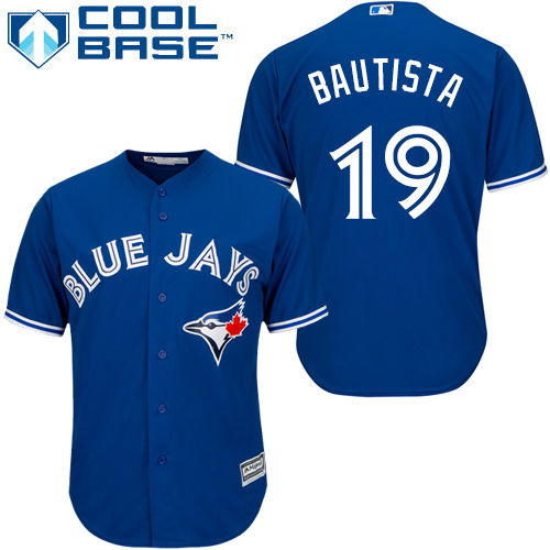 Men's Majestic Toronto Blue Jays #19 Jose Bautista Replica Blue Alternate MLB Jersey