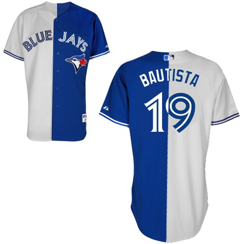 Men's Majestic Toronto Blue Jays #19 Jose Bautista Replica Blue/White Split Fashion MLB Jersey