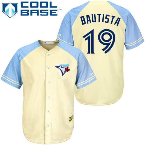 Men's Majestic Toronto Blue Jays #19 Jose Bautista Replica Cream Exclusive Vintage Cool Base MLB Jersey