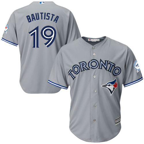 Men's Majestic Toronto Blue Jays #19 Jose Bautista Replica Grey Road 40th Anniversary Patch MLB Jersey