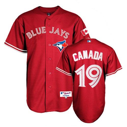 Men's Majestic Toronto Blue Jays #19 Jose Bautista Replica Red Canada Day MLB Jersey