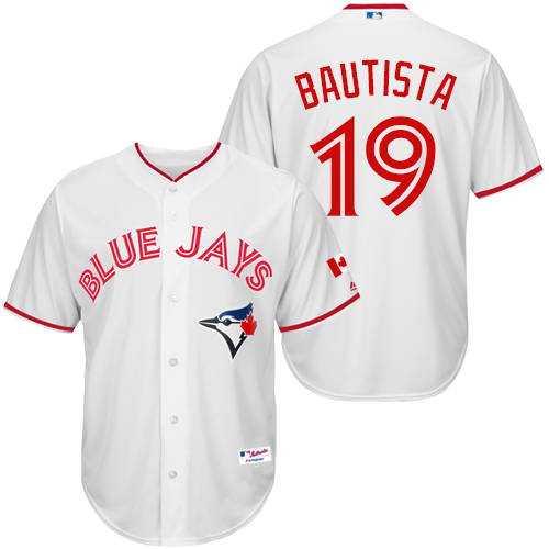 Men's Majestic Toronto Blue Jays #19 Jose Bautista Replica White 2015 Canada Day MLB Jersey