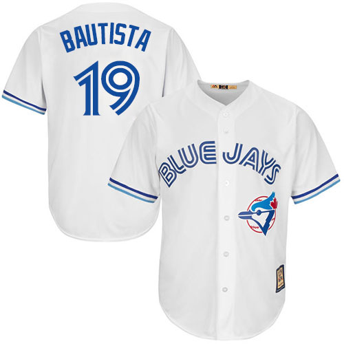 Men's Majestic Toronto Blue Jays #19 Jose Bautista Replica White Cooperstown MLB Jersey