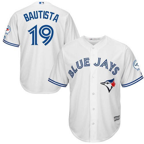 Men's Majestic Toronto Blue Jays #19 Jose Bautista Replica White Home 40th Anniversary Patch MLB Jersey