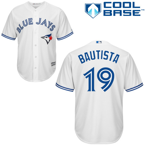 Men's Majestic Toronto Blue Jays #19 Jose Bautista Replica White Home MLB Jersey