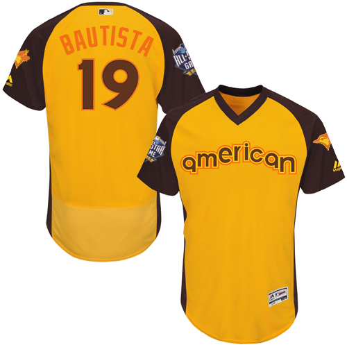 Men's Majestic Toronto Blue Jays #19 Jose Bautista Yellow 2016 All-Star American League BP Authentic Collection Flex Base MLB Jersey