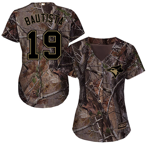 Women's Majestic Toronto Blue Jays #19 Jose Bautista Authentic Camo Realtree Collection Flex Base MLB Jersey