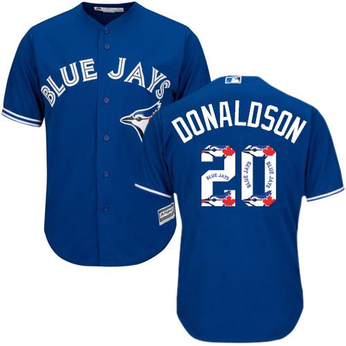 Men's Majestic Toronto Blue Jays #20 Josh Donaldson Authentic Blue Team Logo Fashion MLB Jersey