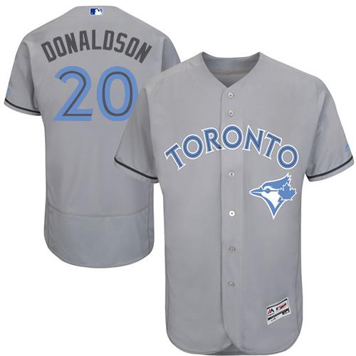 Men's Majestic Toronto Blue Jays #20 Josh Donaldson Authentic Gray 2016 Father's Day Fashion Flex Base MLB Jersey