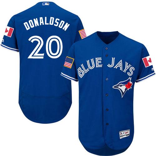 Men's Majestic Toronto Blue Jays #20 Josh Donaldson Authentic Royal Blue Fashion Stars & Stripes Flex Base MLB Jersey