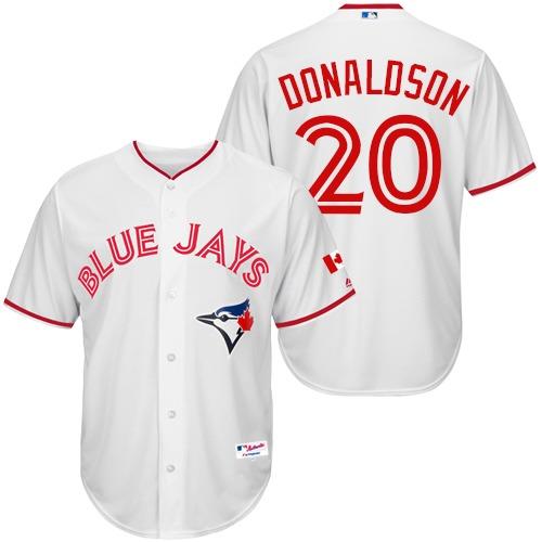 Men's Majestic Toronto Blue Jays #20 Josh Donaldson Authentic White 2015 Canada Day MLB Jersey