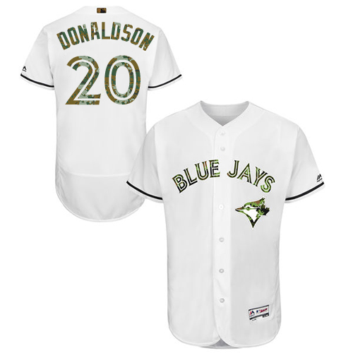 Men's Majestic Toronto Blue Jays #20 Josh Donaldson Authentic White 2016 Memorial Day Fashion Flex Base MLB Jersey